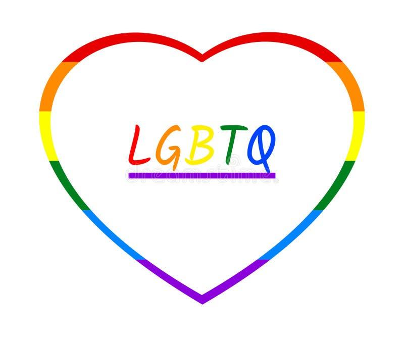 Den färgrika regnbågehjärtaramen och regnbågen LGBTQ smsar, isolerat på vit genomskinlig bakgrund vektor illustrationer