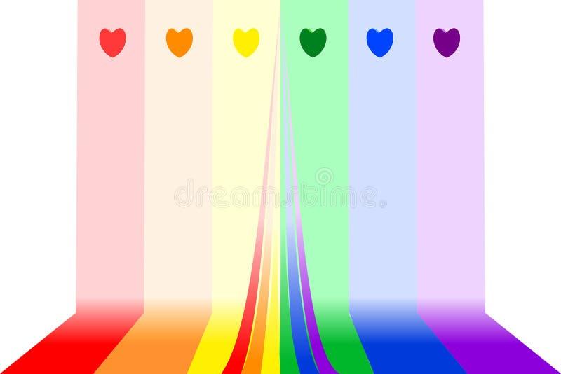 Den färgrika regnbågen gör randig bakgrund med hjärtor överst, mittkopieringsutrymme ocks? vektor f?r coreldrawillustration fotografering för bildbyråer