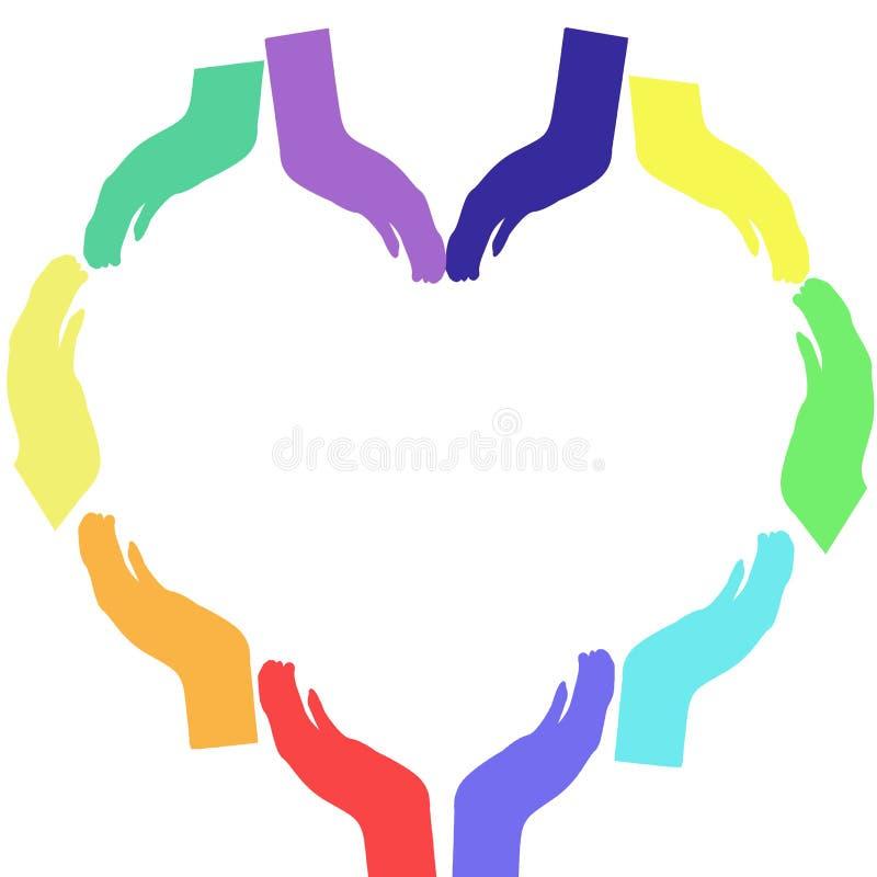 Den färgrika regnbågen räcker tillsammans att bilda en hjärta, begreppet av enhet och förtroende och förälskelse royaltyfri illustrationer
