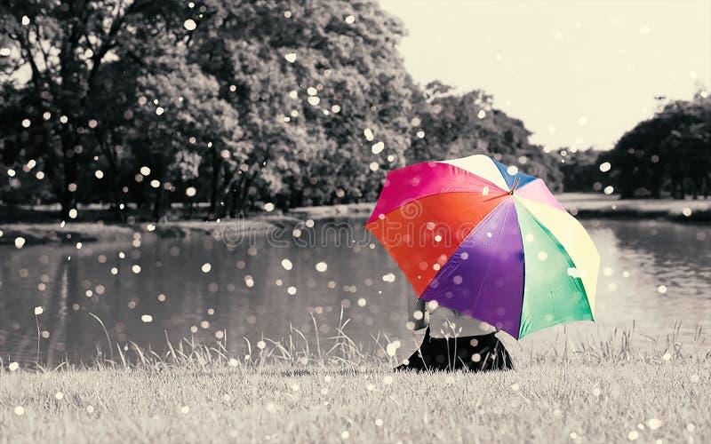 Den färgrika regnbågeparaplyhållen, genom att sitta kvinnan på gräsfält nära floden på utomhus- med fullt av naturen och regn, ko royaltyfri fotografi