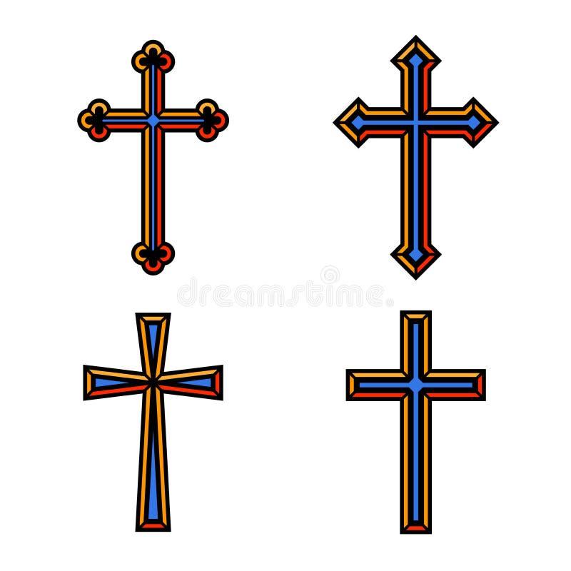 Den färgrika religiösa kristen korsar fastställd design för kors också vektor för coreldrawillustration royaltyfri illustrationer