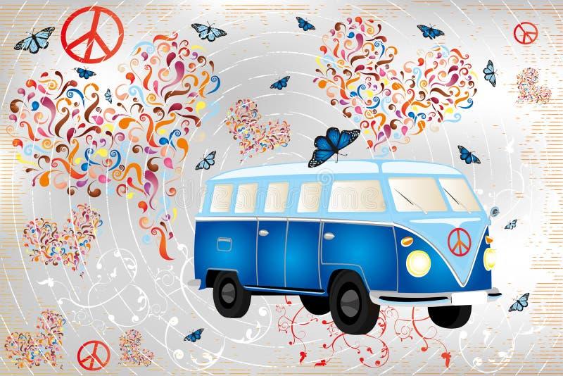 Den färgrika retro skåpbilen med fjärilar, hjärtor gjorde vid virvlar och blom- beståndsdelar royaltyfri illustrationer