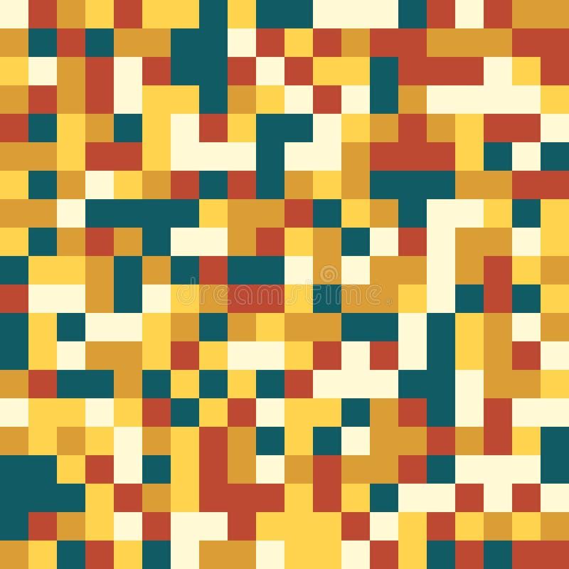 Den färgrika sömlösa modellen i stil för PIXEL 8bit i tappning färgar royaltyfri illustrationer