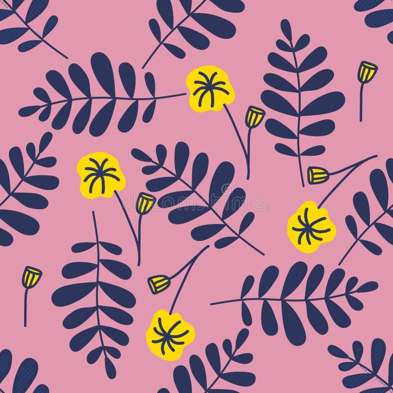 Den färgrika sömlösa modellen lämnar i modern stil på rosa bakgrund Botanisk illustration för tappningvektor seamless vektor illustrationer