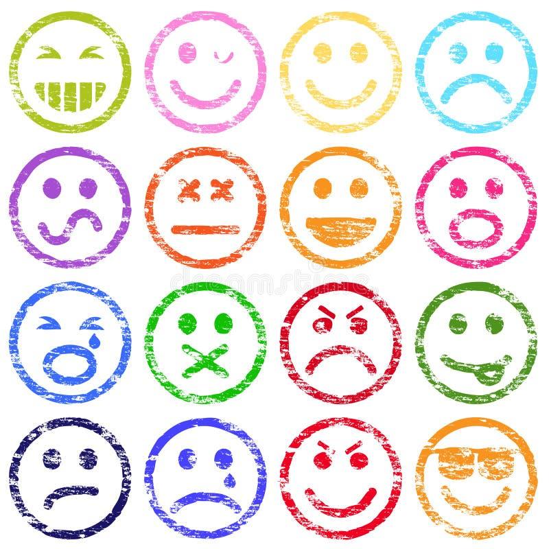 Smileyen vänder mot stämplar vektor illustrationer