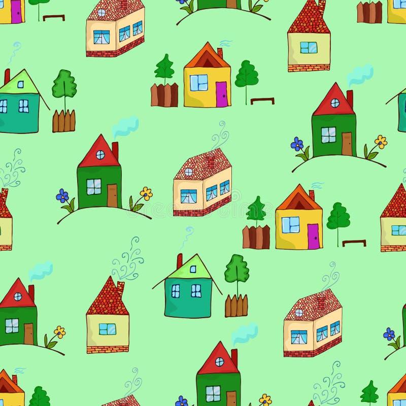 Den färgrika tecknade filmen inhyser samlingen Vektorillustration av de olika husen stock illustrationer
