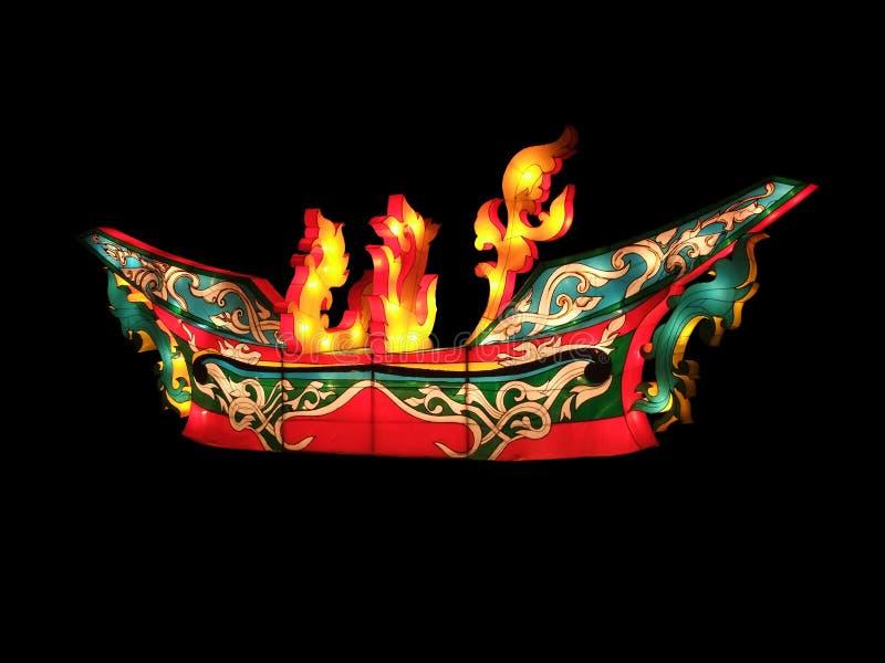 Den färgrika tyglyktan byggs som det thailändska antika fartyget, det kallas Rua KoLae (det KoLae fartyget) arkivfoto