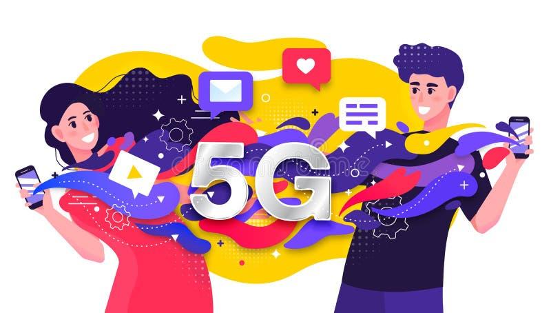 Den färgrika vektorillustrationen som visar ett cell- nätverk 5G med två lyckliga ungdomar, fastar strömma datera data royaltyfri illustrationer