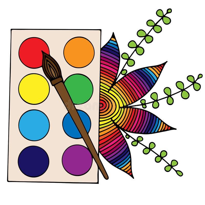 Den färgrika vektorn målar med en isolerade borste och blomma stock illustrationer