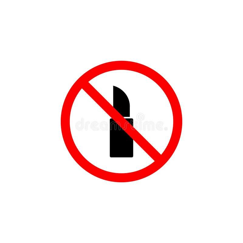 Den förböd läppstiftsymbolen på vit bakgrund kan användas för rengöringsduken, logoen, den mobila appen, UI UX stock illustrationer