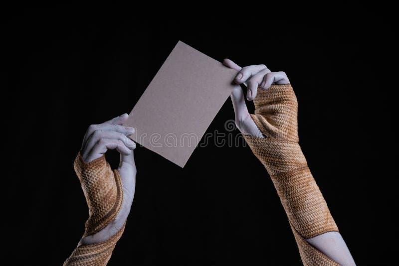 Den förband mamman räcker att rymma ett stycke av papp royaltyfria foton