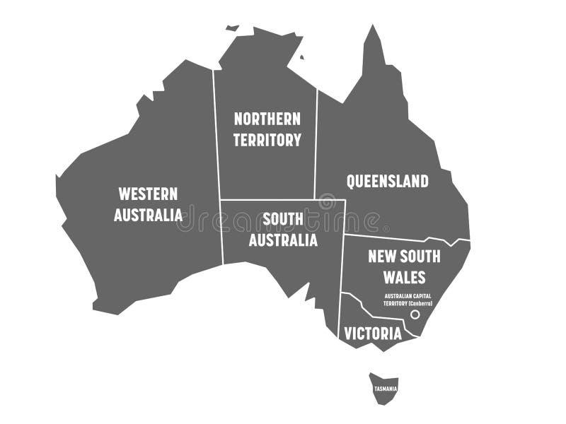 Den förenklade översikten av Australien delade in i tillstånd och territorier Grå färger sänker översikten med vita gränser och v vektor illustrationer