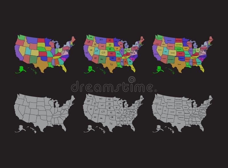 Den Förenta staterna översikten, USA delade översikter med namnillustrationdesign vektor illustrationer