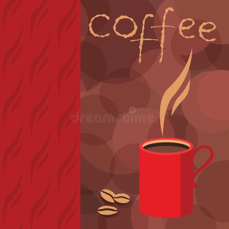 Den företags identiteten för utskrivavna bönor för kaffe för häftekafébakgrund bryner stock illustrationer