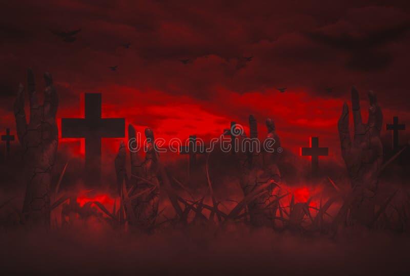 Den förfärliga natten med himmel, dyker upp allhelgonaaftonbegreppet med levande döduppståndelsehanden från grav i kyrkogård stock illustrationer
