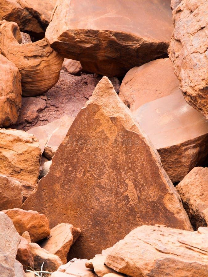 Den förhistoriska obygdsbon vaggar gravyrer in royaltyfri foto
