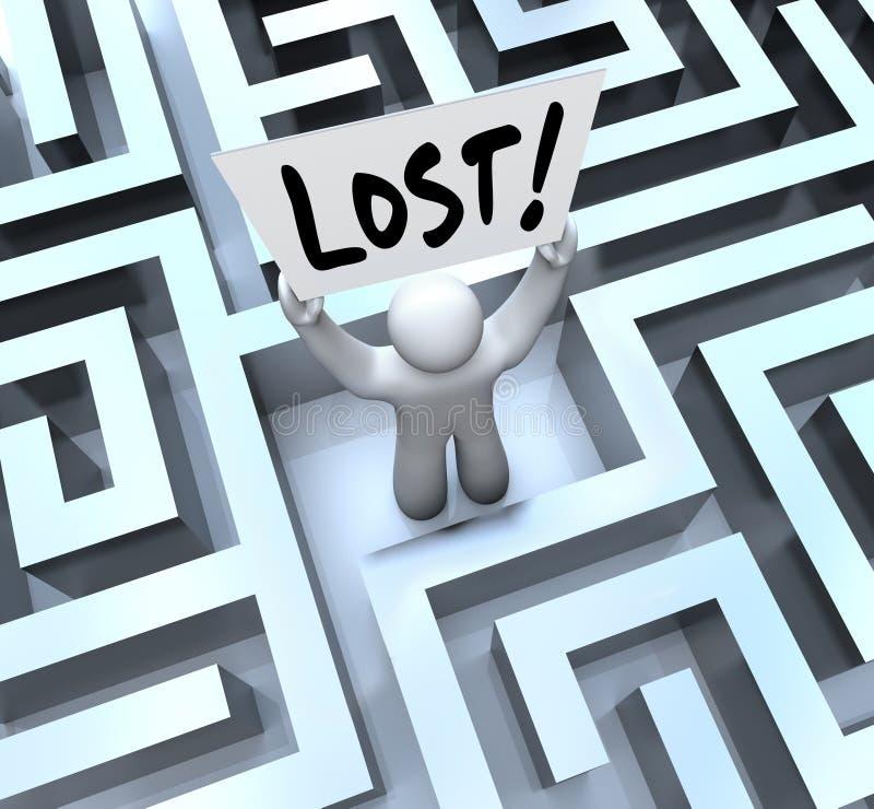 Den förlorade manholdingen undertecknar in labyrintMaze royaltyfri illustrationer