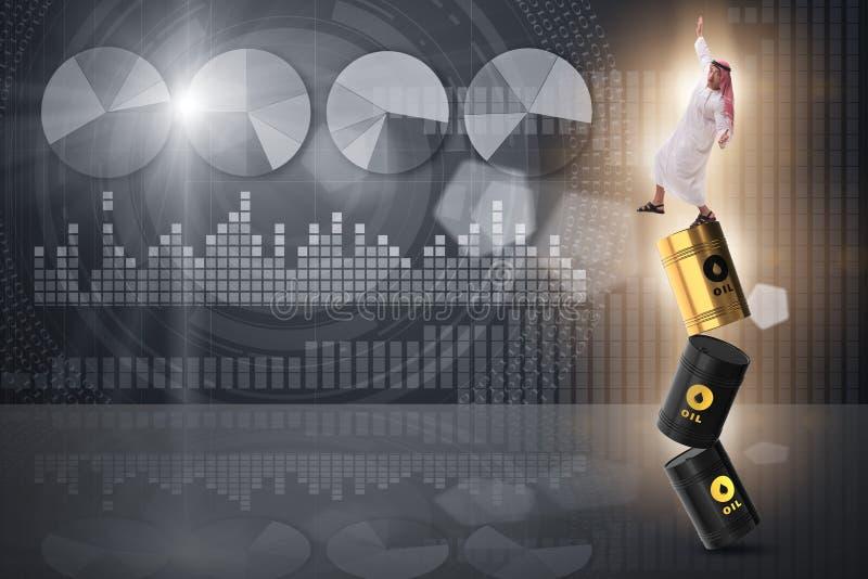 Den förlorande jämvikten för arabisk affärsman på olje- trummor royaltyfri illustrationer