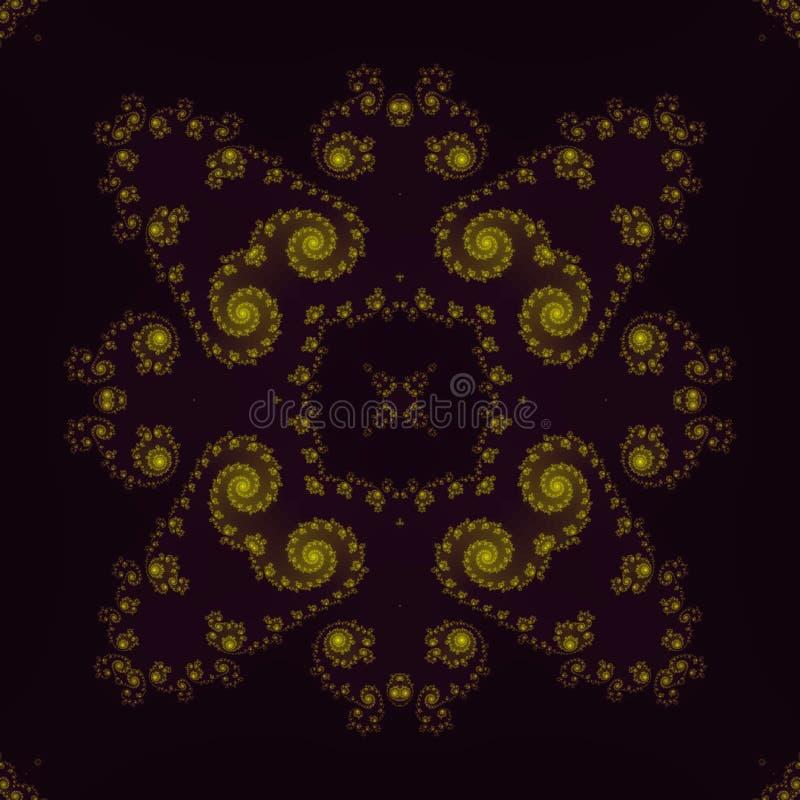 Den försiktiga tunna abstrakt begreppgulingprydnaden på mörk backgroun, ram formar vektor illustrationer