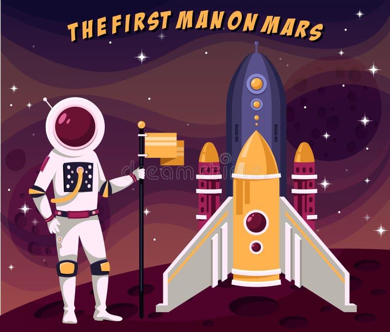 Den första astronautmannen i spacesuit som förlägger flaggan fördärvar på stock illustrationer