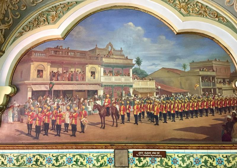 Den första bataljonen av Mysore infanteri i en kunglig procession arkivfoton