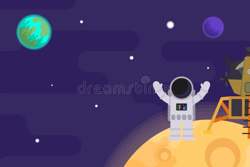 Den första mannen på månen, apollo 11 Plan illustration f?r vektor royaltyfri illustrationer