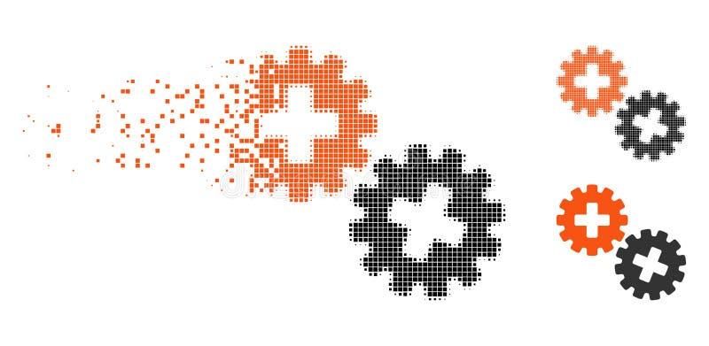 Den försvinnande rastrerade läkarundersökningen för PIXEL utrustar symbolen vektor illustrationer