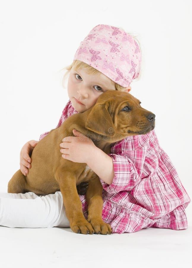 Den förtjusande liten flicka kramar henne den små valpen arkivfoton