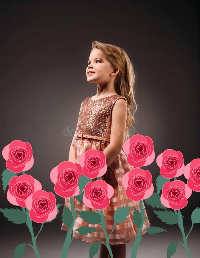 den förtjusande prinsessan i rosa färger klär, isolerat på grå färger vektor illustrationer