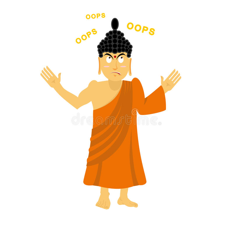 Den förvånade Buddha säger oops Förvirrad indisk gud Suverän teache vektor illustrationer