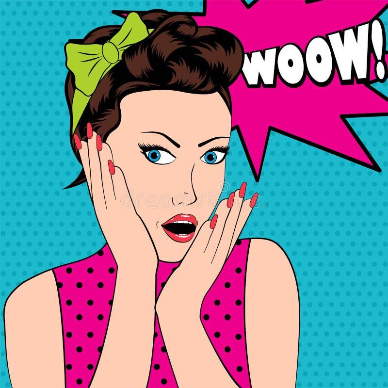 Den förvånade kvinnan i stil för popkonst med överraskar tecknet royaltyfri illustrationer