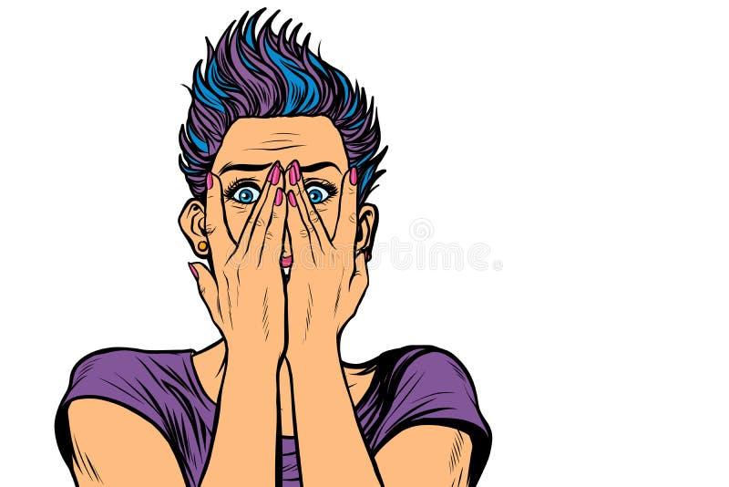 Den förvånade kvinnan täckte hennes framsida med händer stock illustrationer