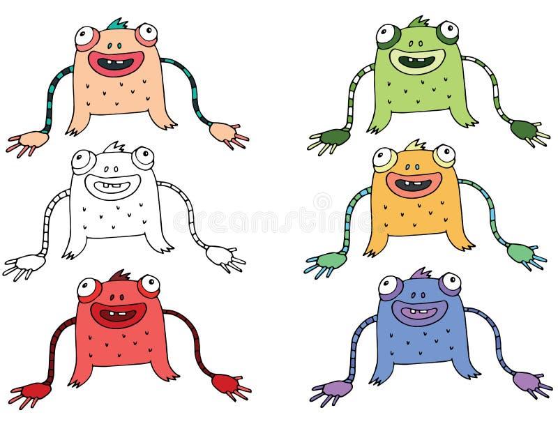 Den f?rgade roliga tecknade filmen skriver handen - gjorde attraktionklottret gigantiska fr?mlingar ormen stock illustrationer