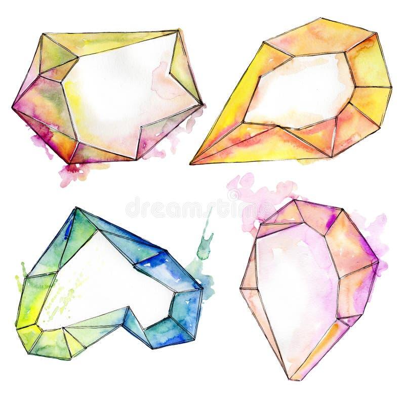 Den f?rgrika diamanten vaggar smyckenmineral Upps?ttning f?r vattenf?rgbakgrundsillustration Isolerad kristallillustrationbest?nd royaltyfri illustrationer