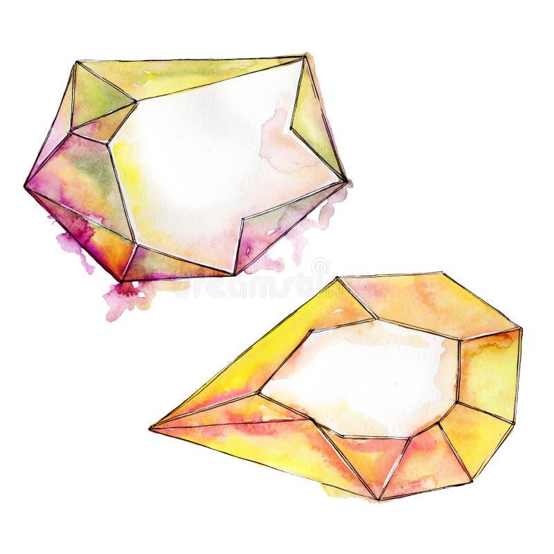 Den f?rgrika diamanten vaggar smyckenmineral Upps?ttning f?r vattenf?rgbakgrundsillustration Isolerad kristallillustrationbest?nd vektor illustrationer