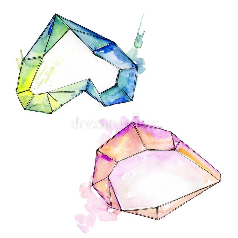 Den f?rgrika diamanten vaggar smyckenmineral Upps?ttning f?r vattenf?rgbakgrundsillustration Isolerad kristallillustrationbest?nd stock illustrationer