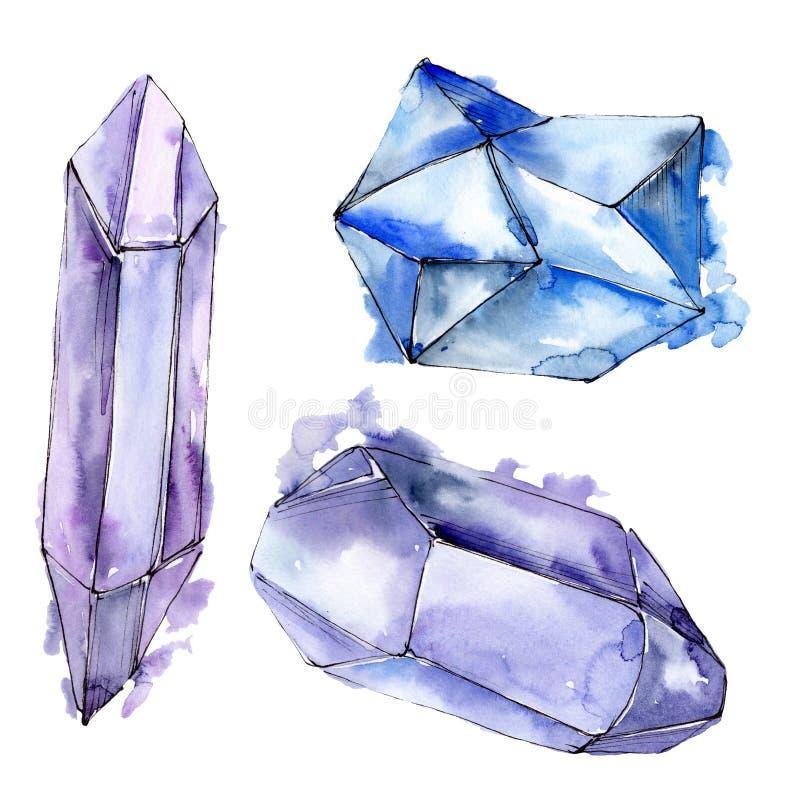 Den f?rgrika diamanten vaggar smyckenmineraler set vattenf?rg f?r bakgrundsgrunddesign Isolerad kristallillustrationbeståndsdel stock illustrationer