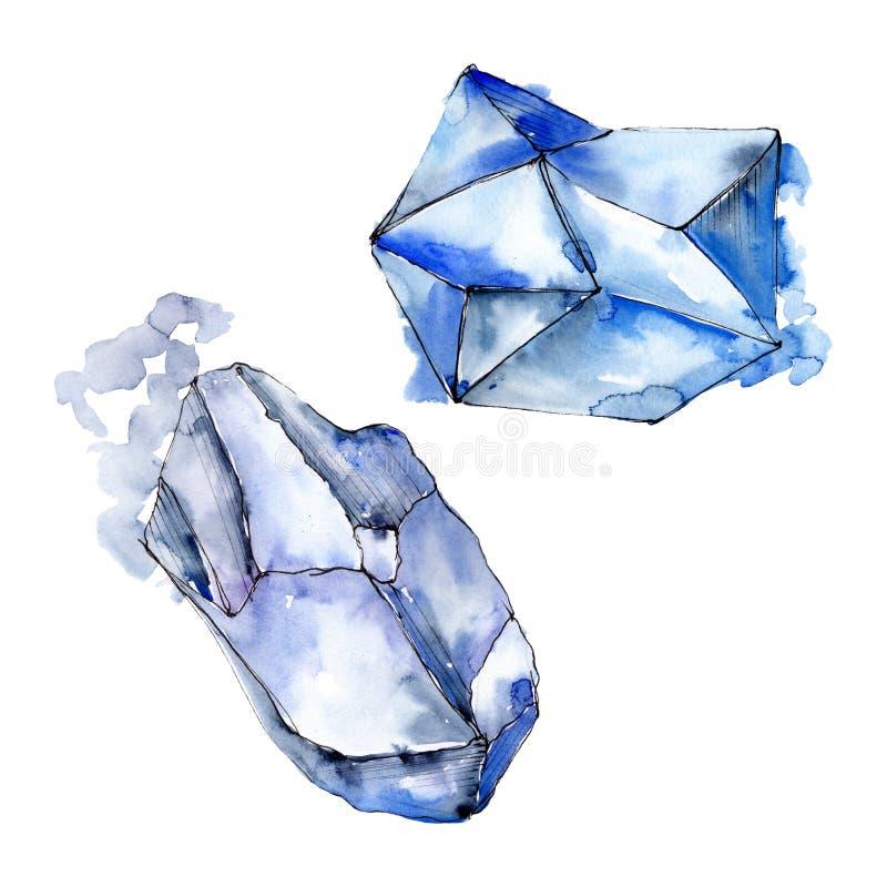Den f?rgrika diamanten vaggar smyckenmineraler set vattenf?rg f?r bakgrundsgrunddesign Isolerad kristallillustrationbeståndsdel vektor illustrationer