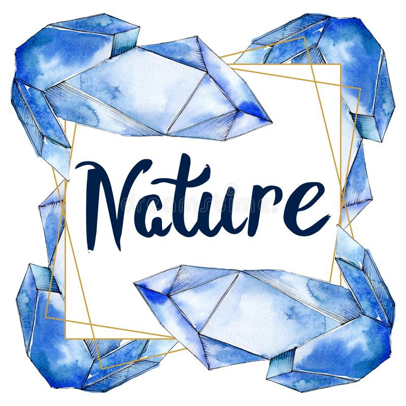 Den f?rgrika diamanten vaggar smyckenmineraler Upps?ttning f?r vattenf?rgbakgrundsillustration Fyrkant f?r ramgr?nsprydnad royaltyfri illustrationer