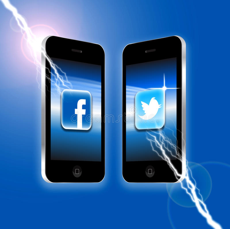 Facebook v Twitter stock illustrationer
