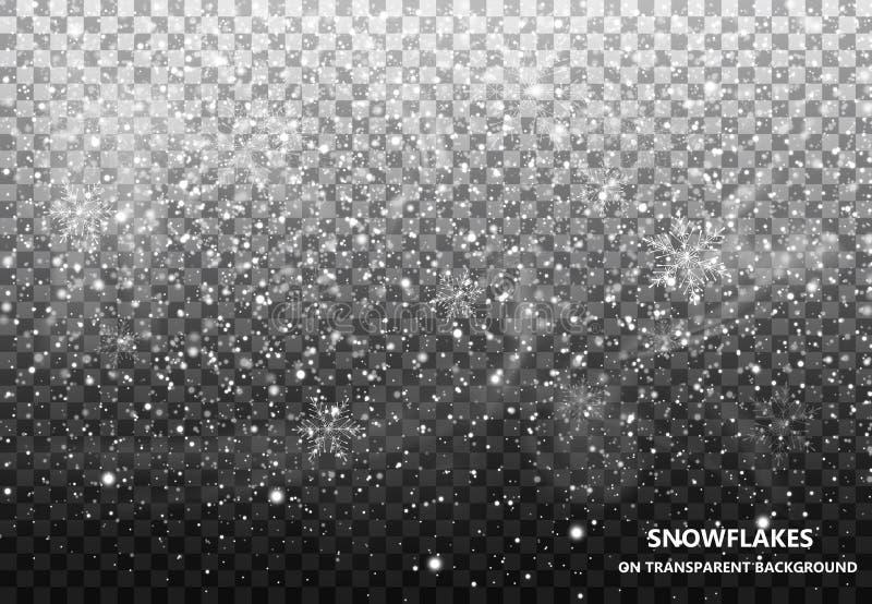 Den fallande snön på en genomskinlig bakgrund snowfall Jul snowflakes Snöflingavektor stock illustrationer
