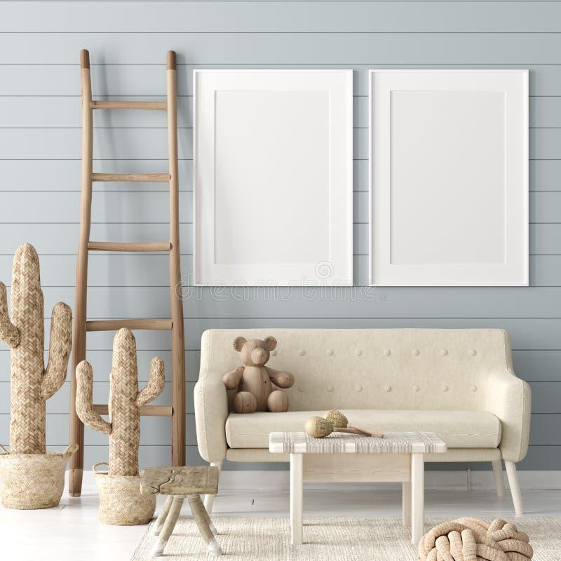 Den falska övre affischen i barn hyr rum bakgrund, rum för pastellfärgad färg med naturlig vide- och träleksaker vektor illustrationer