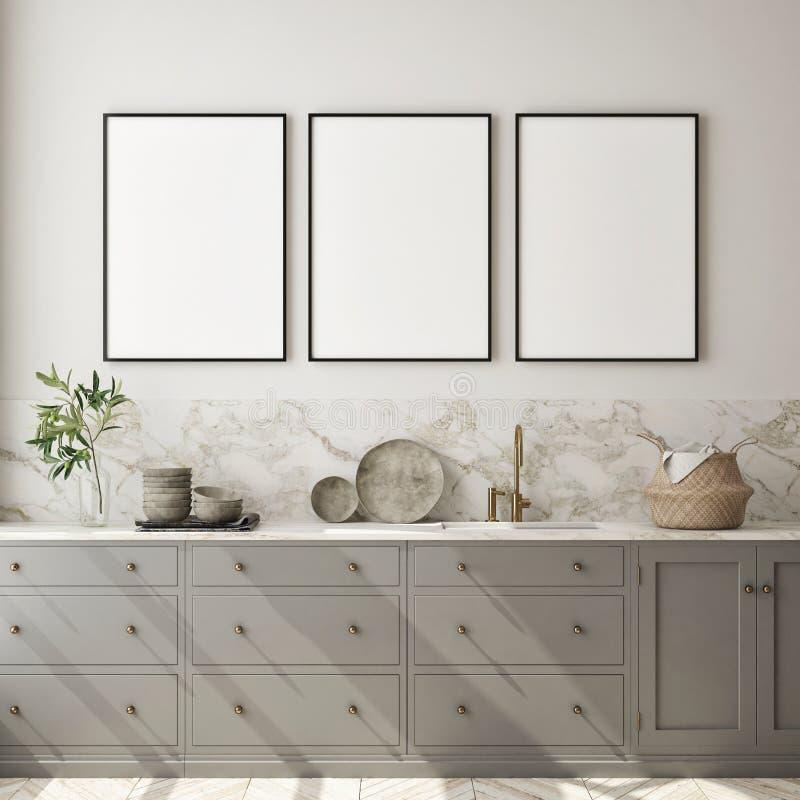Den falska övre affischramen i modern inre bakgrund, kök, skandinavisk stil, 3D framför royaltyfri illustrationer