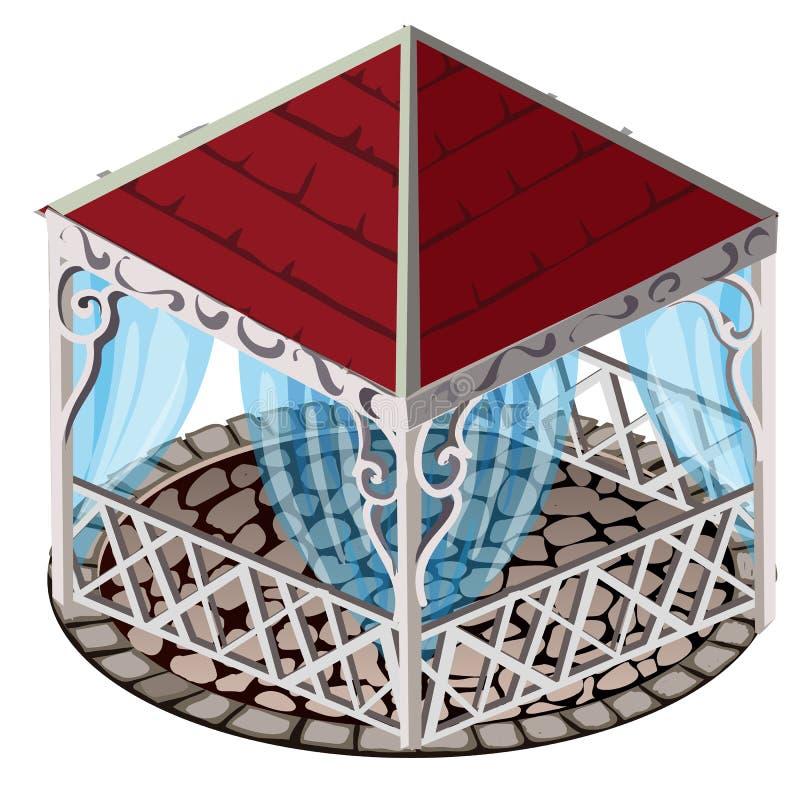 Den falska gazeboen med det röda taket, blått snör åt gardiner och golv som stenläggas med kullersten som isoleras på vit bakgrun royaltyfri illustrationer