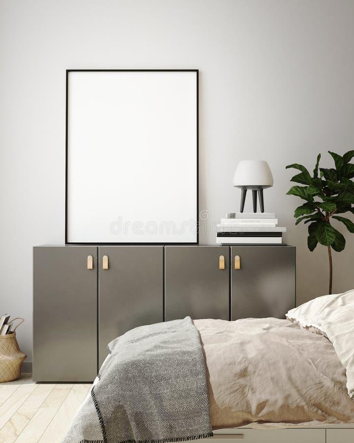 Den falska ?vre affischramen i inre bakgrund f?r det moderna sovrummet, vardagsrum, skandinavisk stil, 3D framf?r, illustrationen vektor illustrationer