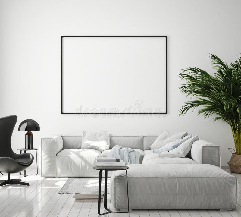 Den falska ?vre affischramen i modern inre bakgrund, vardagsrum, skandinavisk stil, 3D framf?r, illustrationen 3D royaltyfri illustrationer