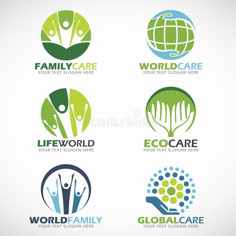 Den familjomsorg och världen att bry sig fastställd design för logovektor vektor illustrationer