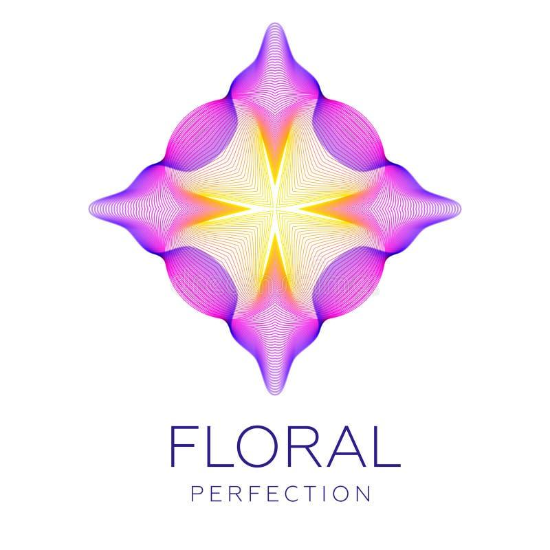 Den fantastiska blomman, abstrakt form med massor av att blanda fodrar royaltyfri illustrationer
