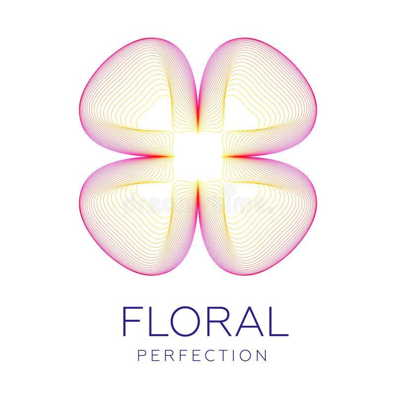 Den fantastiska blomman för den körsbärsröda blomningen, abstrakt form med massor av att blanda fodrar vektor illustrationer