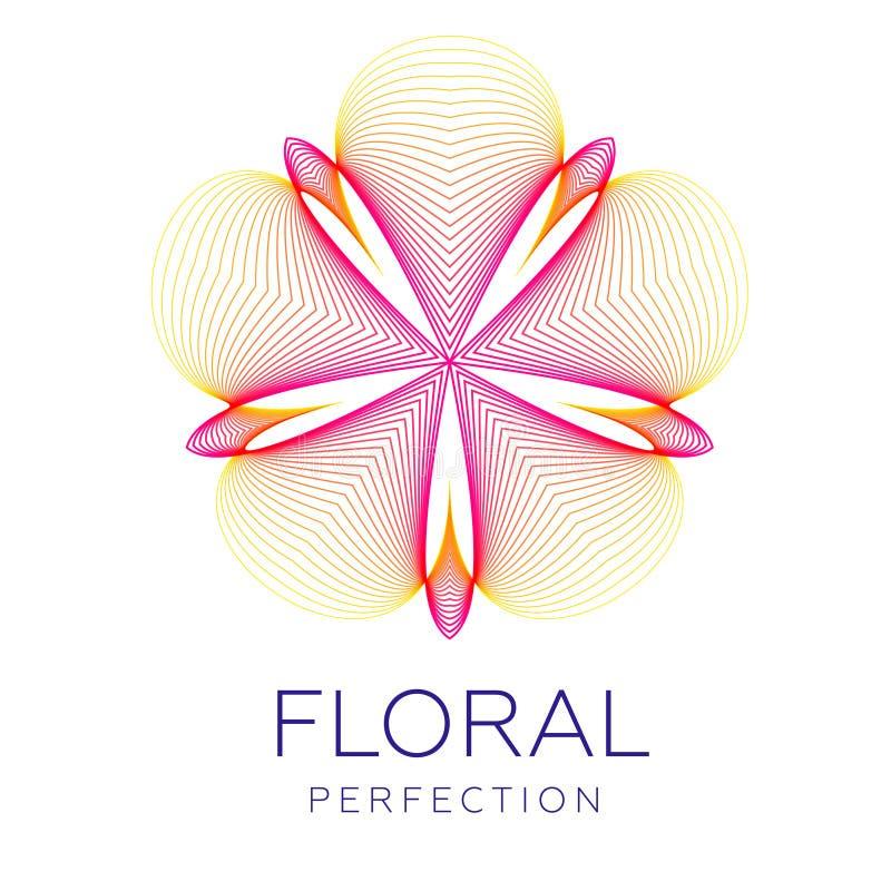 Den fantastiska blomman för den körsbärsröda blomningen, abstrakt form med massor av att blanda fodrar stock illustrationer